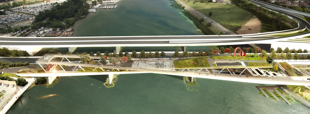 The park will rest on the supporting pillars of the 11th Street Bridge / OMA and OLIN