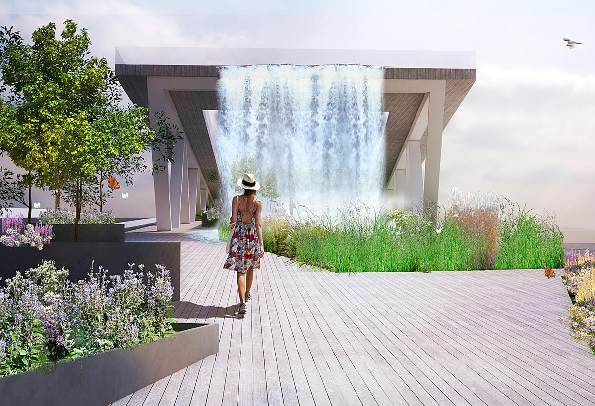 The park will feature greenery and water features / OMA and OLIN