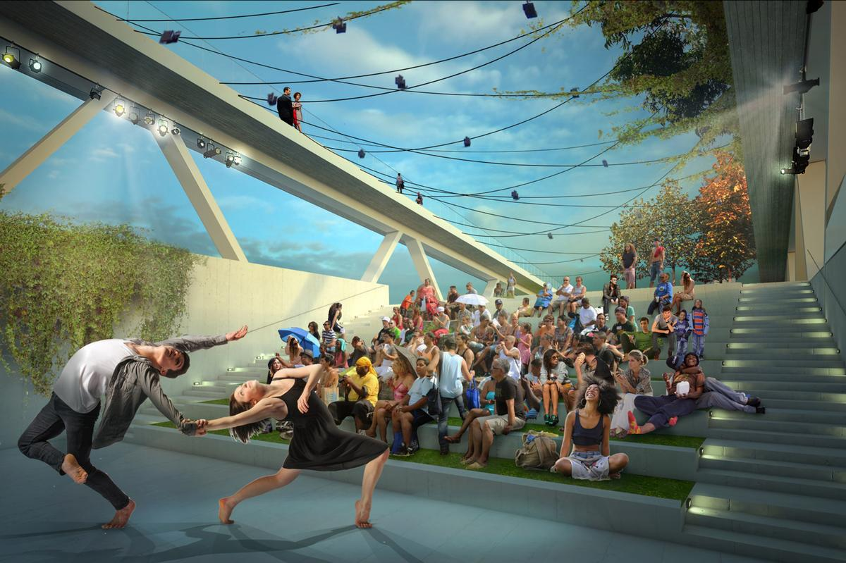 Performing arts will be hosted in Bridge Park / OMA and OLIN