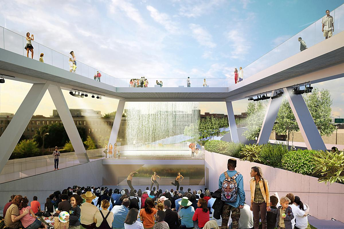 The bridge has been planned as an 'architectural symbol' that will tighten community spirit / OMA and OLIN
