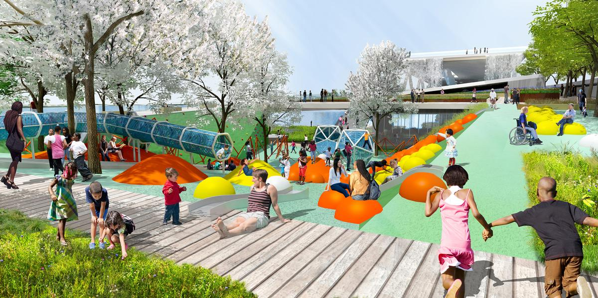 A children's playground features in OMA's design / OMA and OLIN