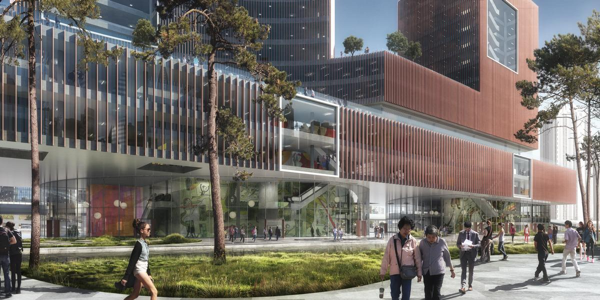 The lower levels of these publicly-accessible structures will include a performance theatre, a training and education centre and galleries set within open and transparent spaces / Beauty & the Bit