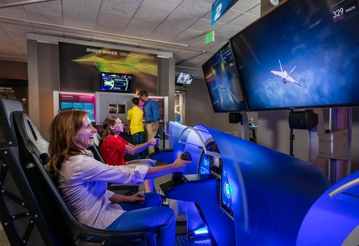 Visitors can create and test their own jet fighter, which they can race in a virtual flying competition