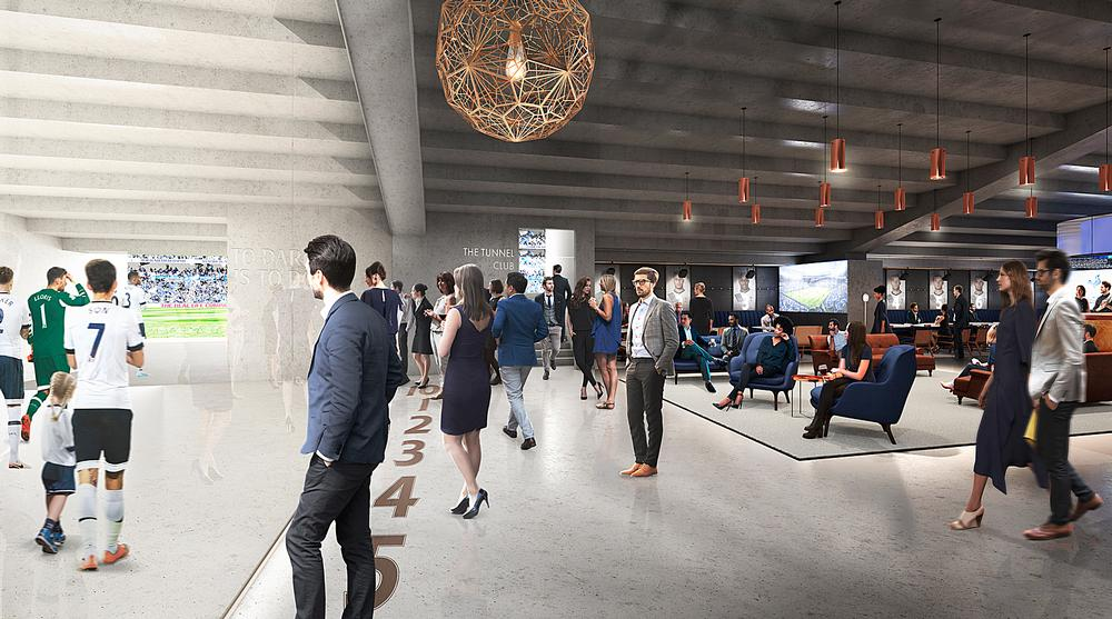 The purpose-built, glass walled Tunnel Club will give views of the players' tunnel / Image:Tottenham Hotspur