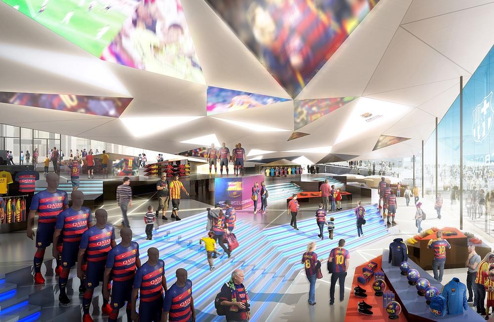 Espai Barça will feature a range of retail, food and beverage and social areas; Camp Nou's capacity will be increased to around 105,000 people  / Photos and images provided by FC Barcelona