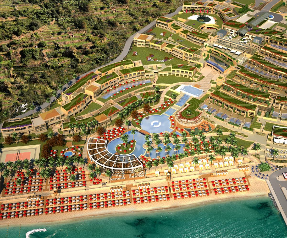 The resort features a large thalassotherapy pool fed directly from the sea, which warms to 30 degrees Celsius (86 F), as well as four separate thermal pools with unique thermal waters of the region / Miraggio
