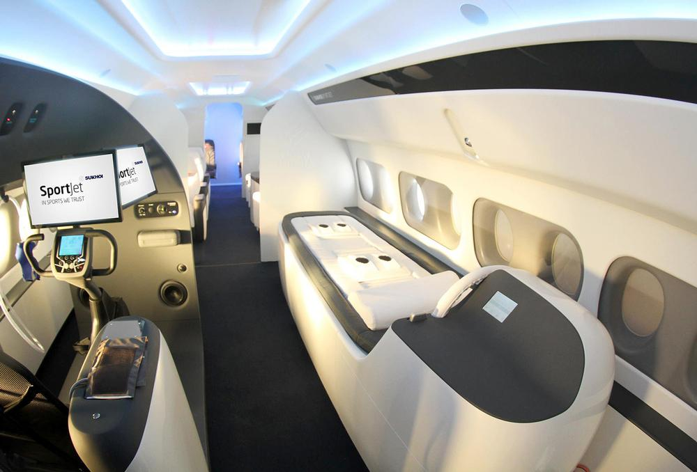 Exercise bikes and massage chairs will be located on Sukhoi's SportJet