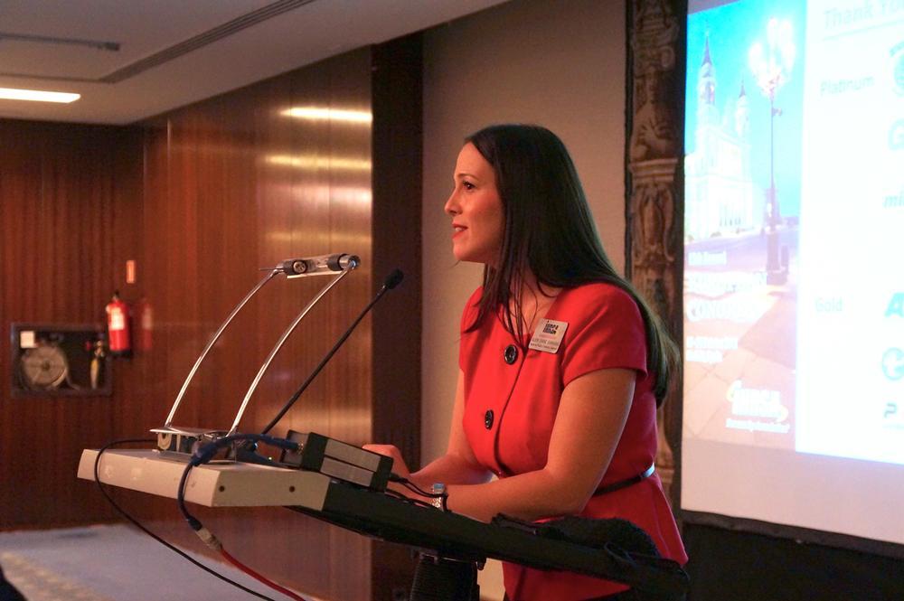 Alison O'Kane Giannaras, associate vice president of international operations, speaking at IHRSA Europe