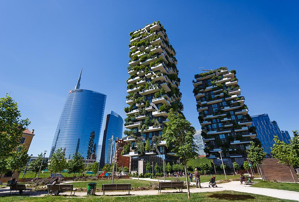 """Stefano Boeri describes his Milan Bosco Verticale project as a """"model of vertical densification of nature within the city"""" / Photo of Bosco Verticale: Shutterstock"""
