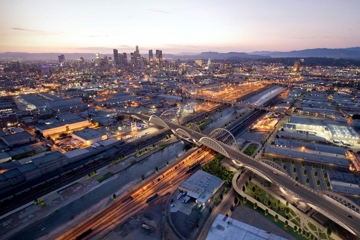 The new bridge will span roads, buildings and the LA River