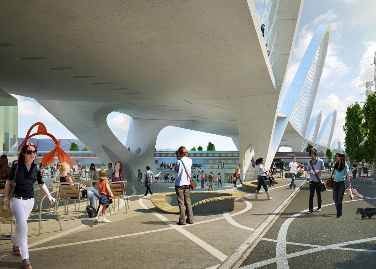 A new Arts Plaza is to be located at the end of the bridge