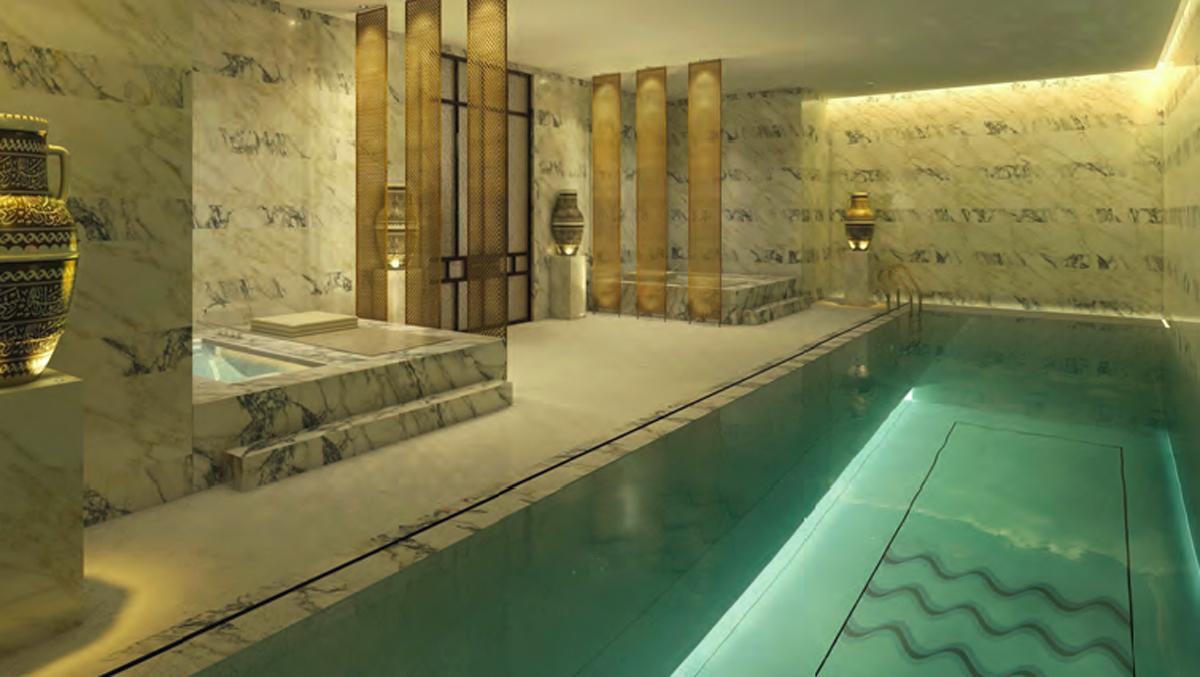 The segregated changing rooms each feature a lap swimming pool and thermal bathing facilities are being designed and supplied by specialists Barr+Wray / Mandarin Oriental