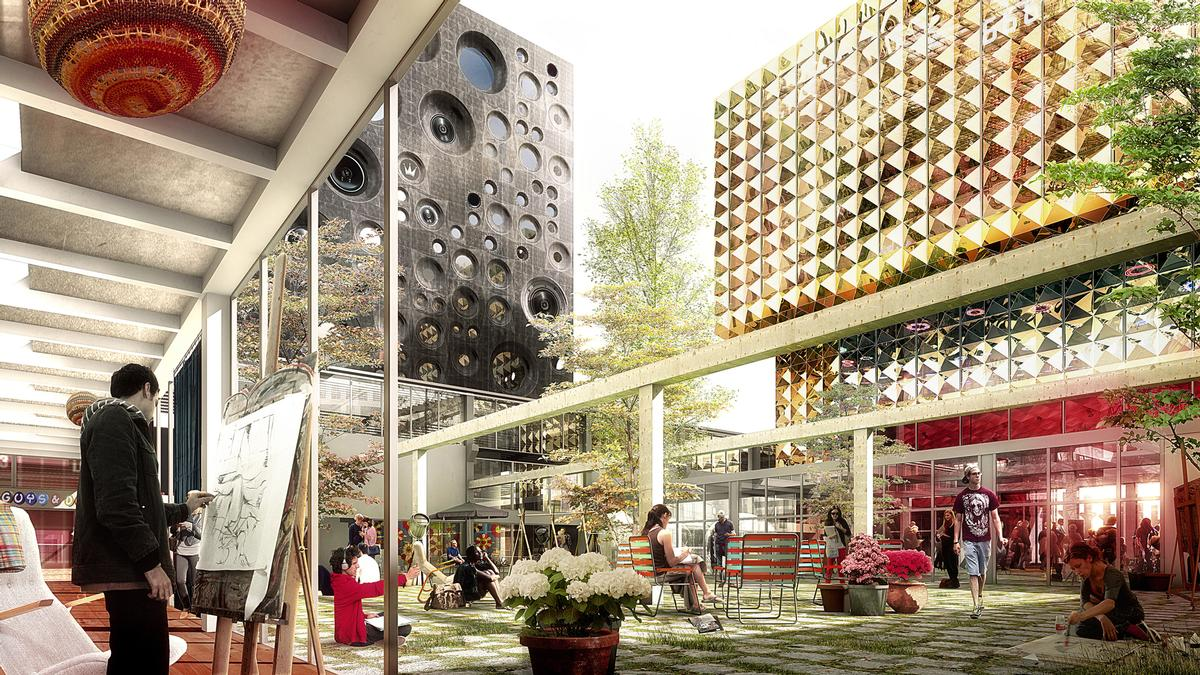 The complex will regenerate the city of Roskilde / MVRDV/Luxigon