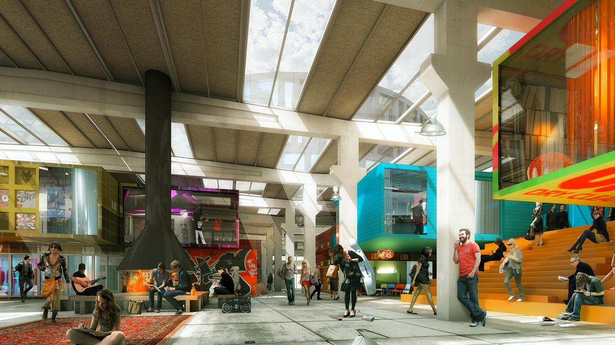 The interior spaces will feature room for temporary exhibitions and 'spontaneous creativity' / MVRDV/Luxigon