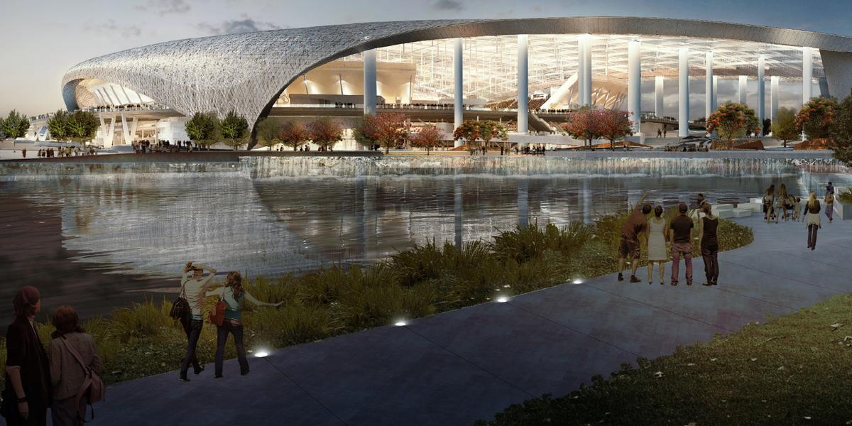 The 80,000-capacity ground will form part of a new mixed-use development which also features a hotel, retail space, a possible branch of the NFL Hall of Fame and a man-made lake / Los Angeles Rams