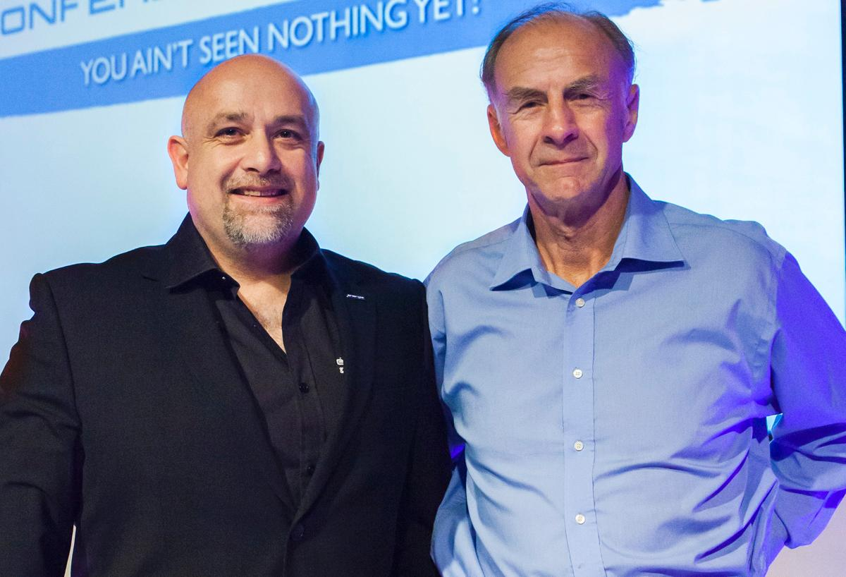 énergie chair and CEO Jan Spaticchia with Sir Ranulph Fiennes at the évolution conference