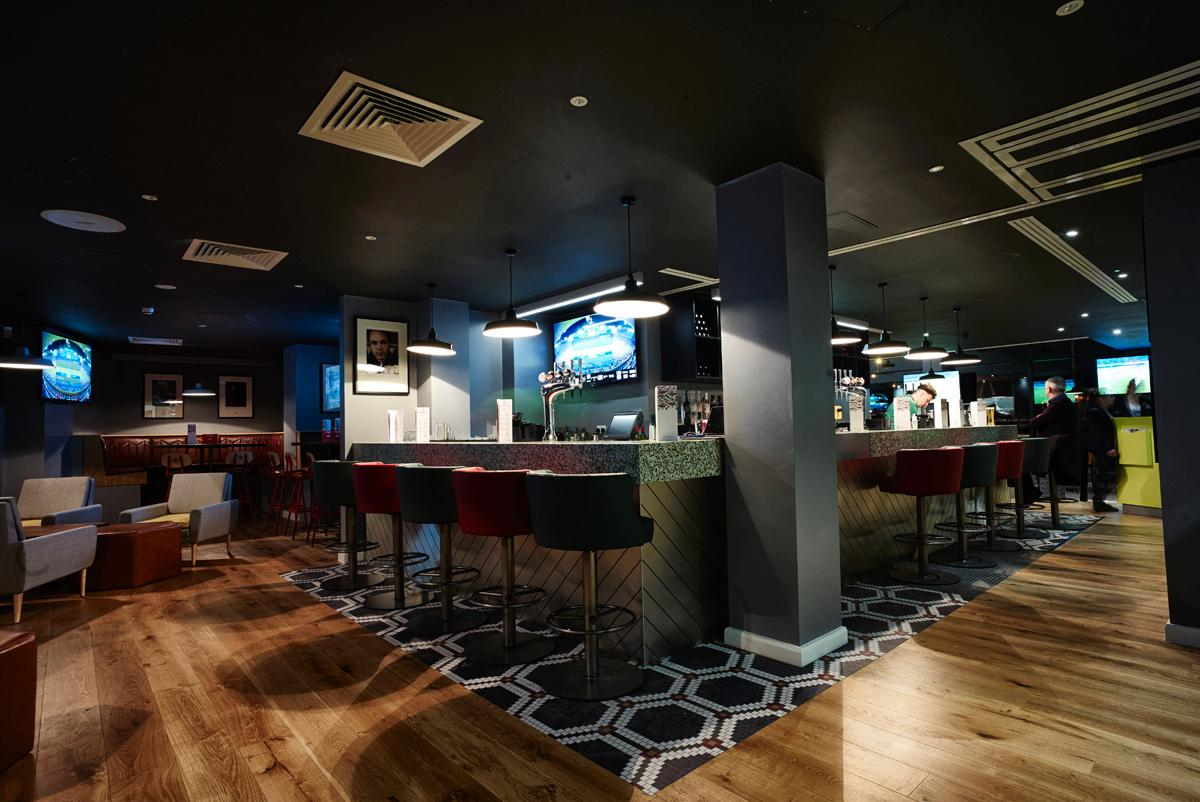 The sophisticated Hotel Football bar offers a number of Manchester United-themed drinks and snacks