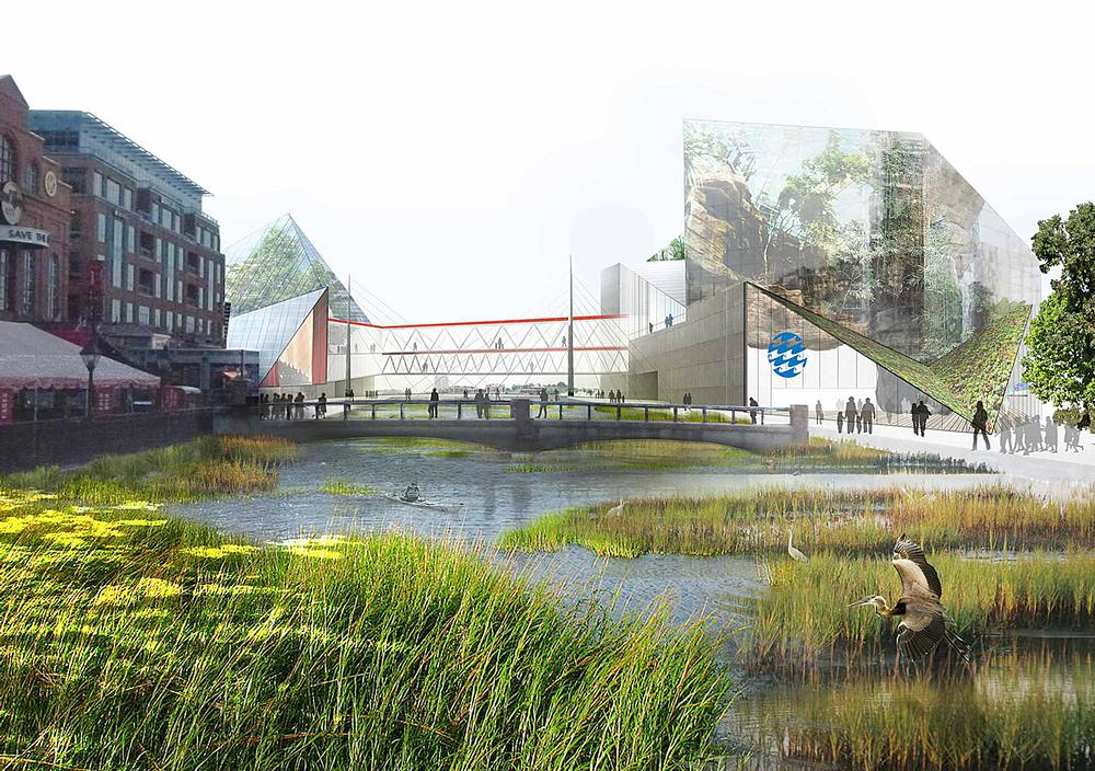 Studio Gang's strategic plan for Baltimore's National Aquarium sees existing facilities linked  by a new urban wetland