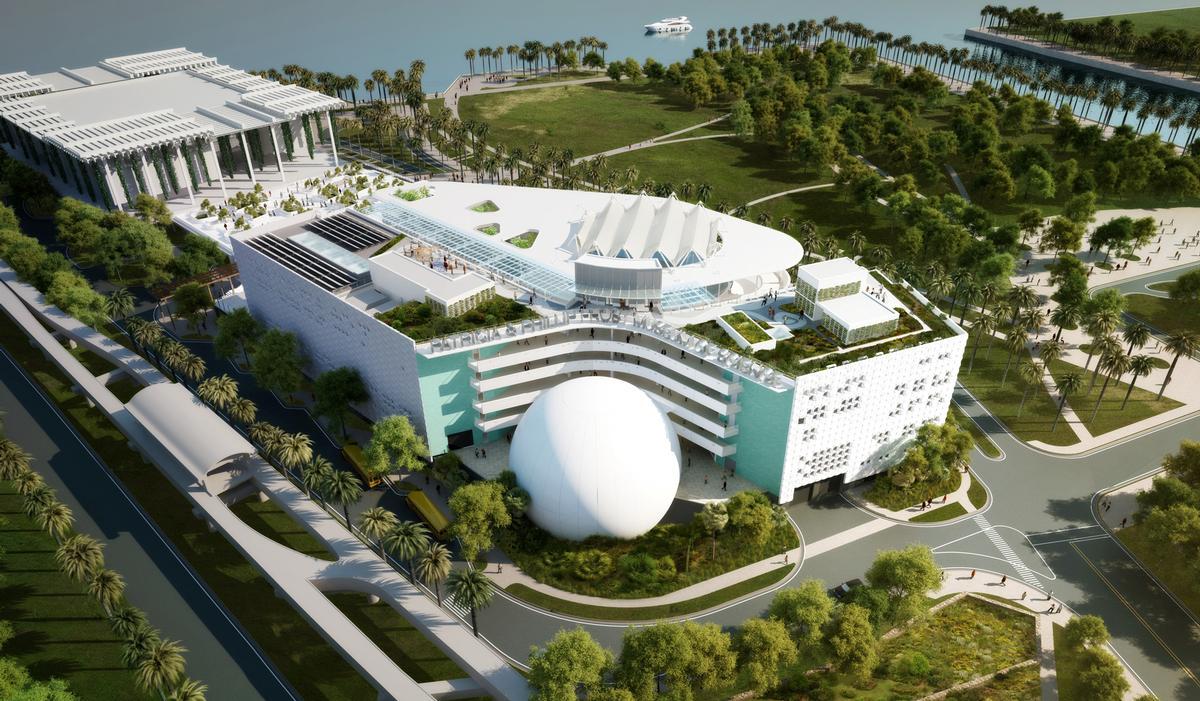 The museum will feature a 510,000 gallon aquarium, 3D planetarium and wildlife centre / Patricia and Phillip Frost Museum of Science