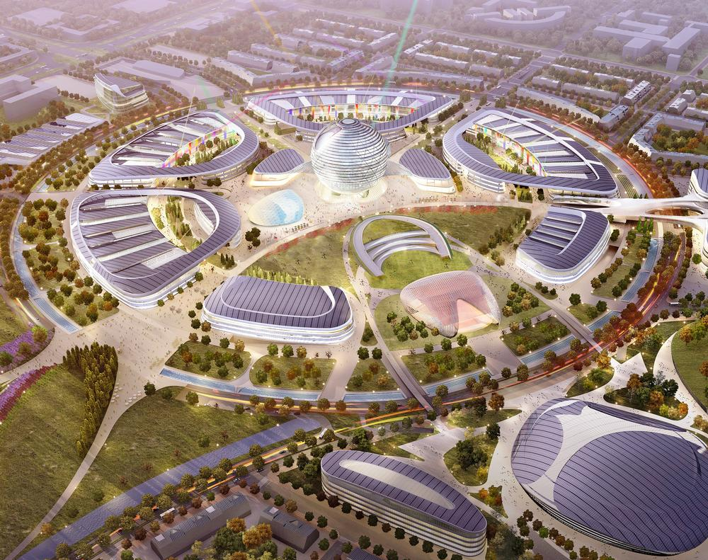 The Expo 2017 site in Astana comprises pavilions, residences, service areas and site-wide parks