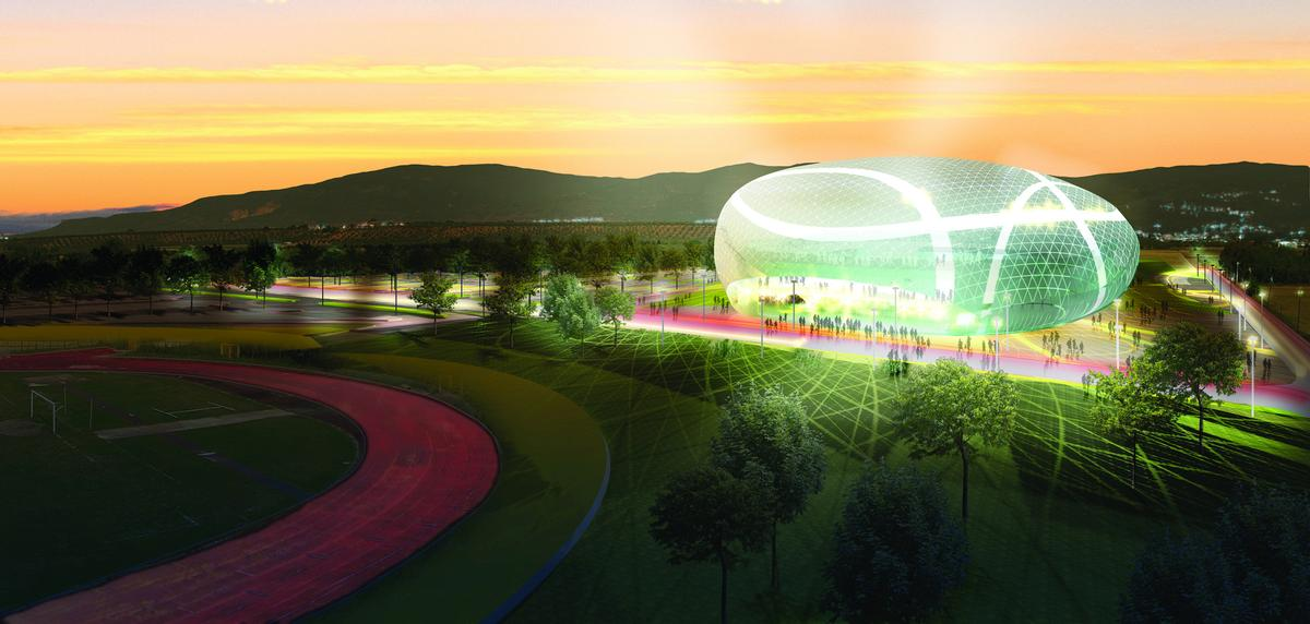 The roof design creates the impression events inside the stadium are taking place beneath a huge air bubble, the appearance of which shifts with the changing light throughout the day / Vittorio Grassi + Partners