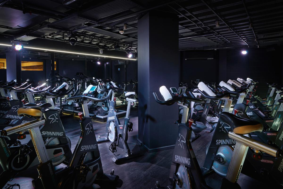 The indoor cycling studio features a plethora of Spinner bikes / Third Space