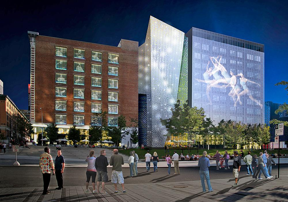 The 12,700sq m Espace Danse complex is being built in and around Montreal's old Wilder Building