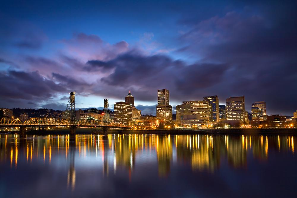 Portland, Oregon is situated at the confluence of the Willamette and Columbia rivers