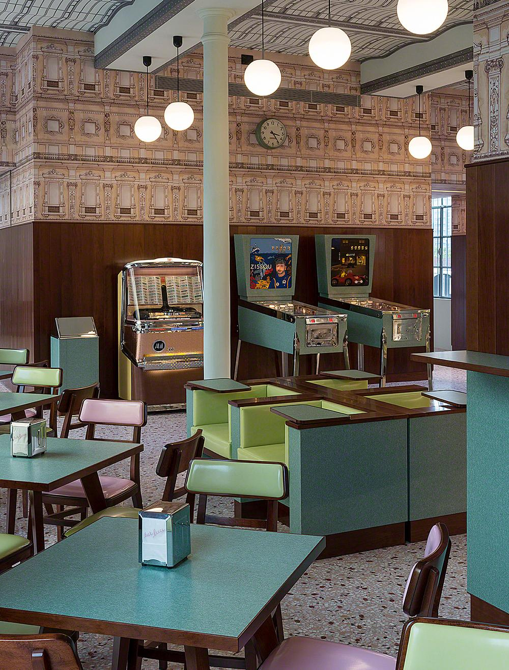 Film director Wes Anderson designed Bar Luce, which features a pinball machine inspired by his film The Life Aquatic / Paul Bruinooge/AP/Press Association
