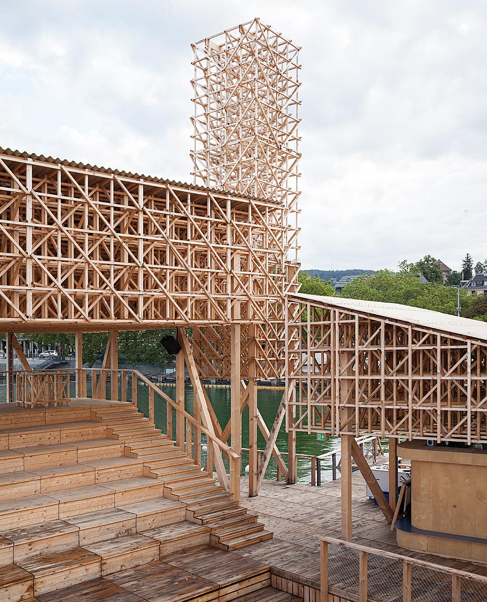 Tom Emerson collaborated with students from ETH Zurich to build the Pavilion of Reflections