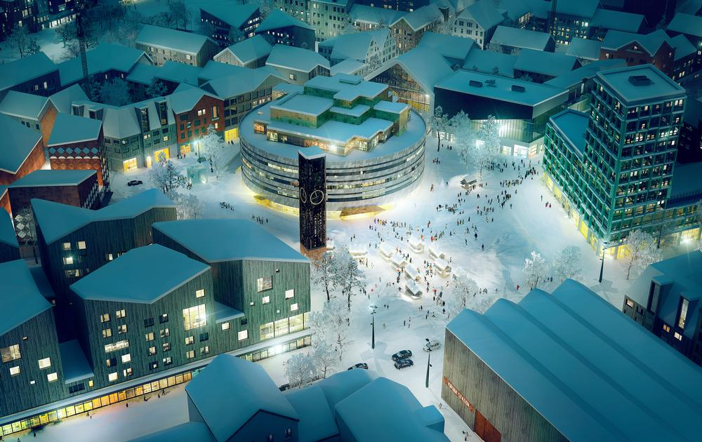 The new town square features a  circular town hall designed by  Danish architect Henning Larsen.  The historic clock tower will be moved from its existing location and rebuilt