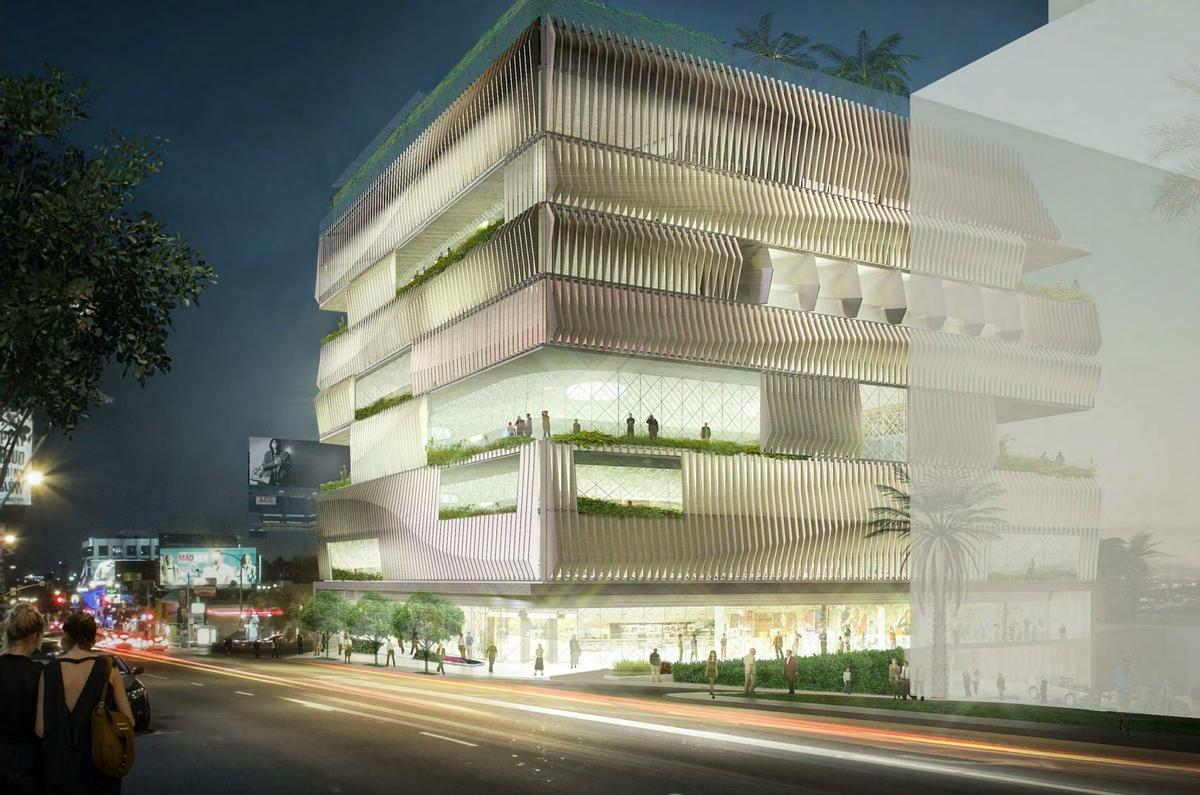 The nine-storey building will house a Japanese/Latino restaurant, dining terraces, a sake and tequila bar, a cinema and a gym and wellness space / City of West Hollywood
