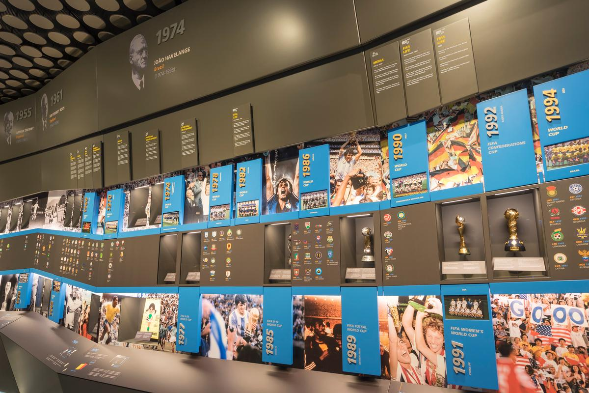 A wall of history tells the entire modern history of world football chronologically / FIFA