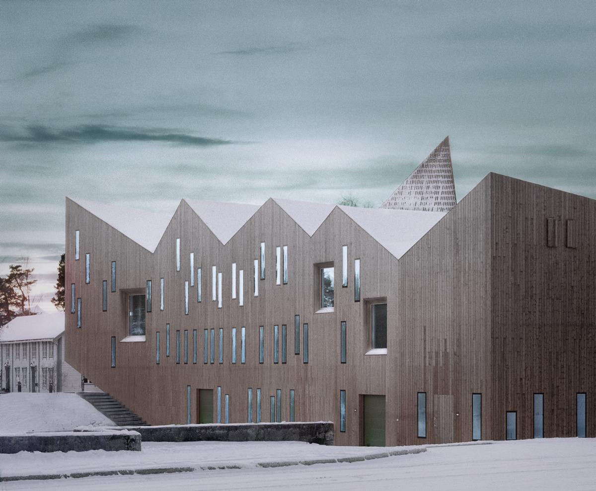 The architects have designed a striking jagged rooftop for the museum / Reiulf Ramstad Arkitekter