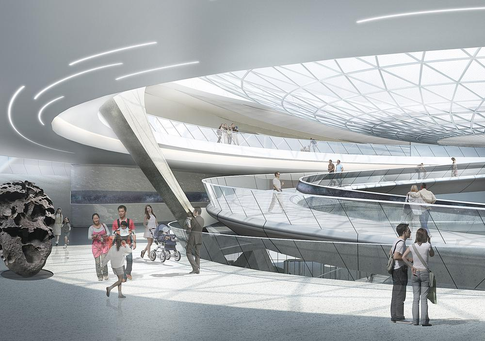 The inverted dome allows natural light to flood into the atrium and provides views of the day and night sky