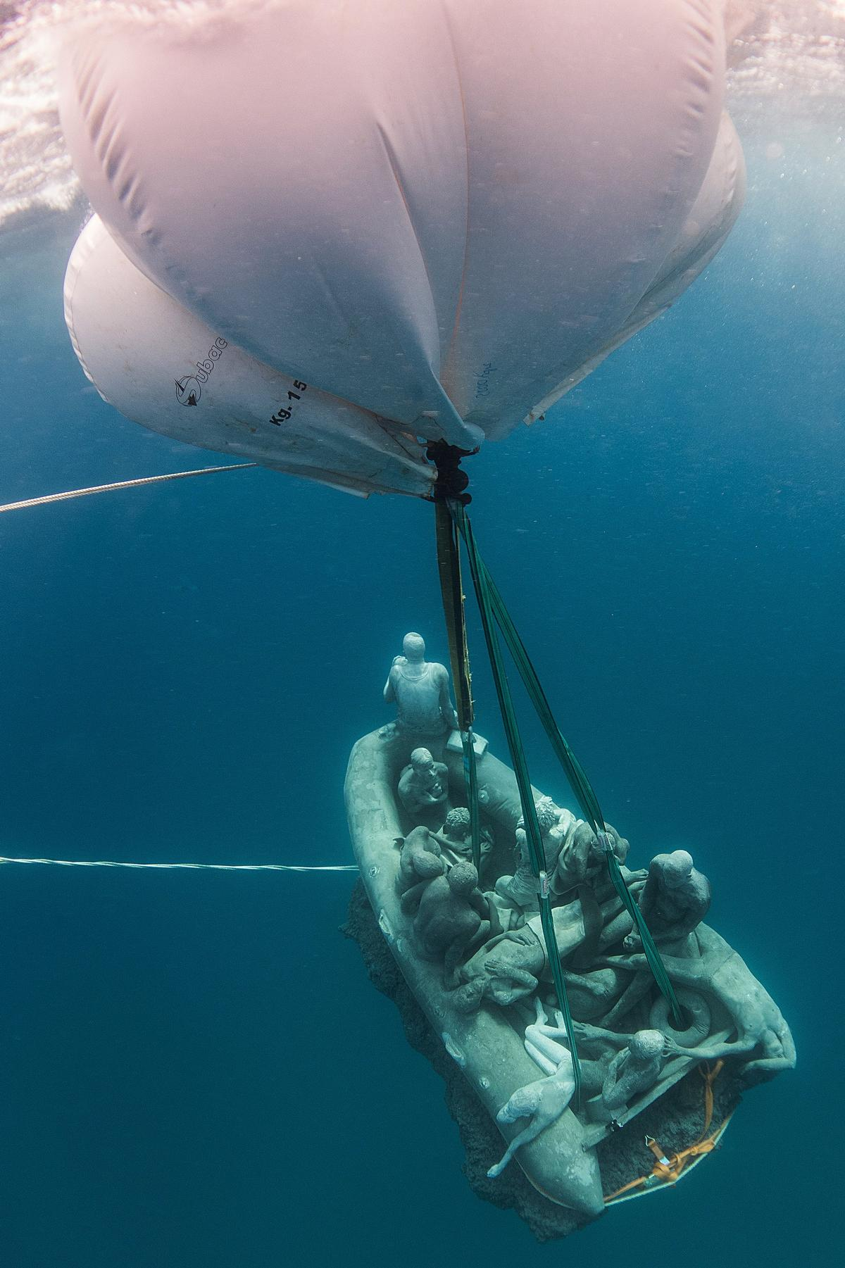 The art works, which have a low centre of gravity, are submerged using giant air balloons / Jason deCairnes Taylor