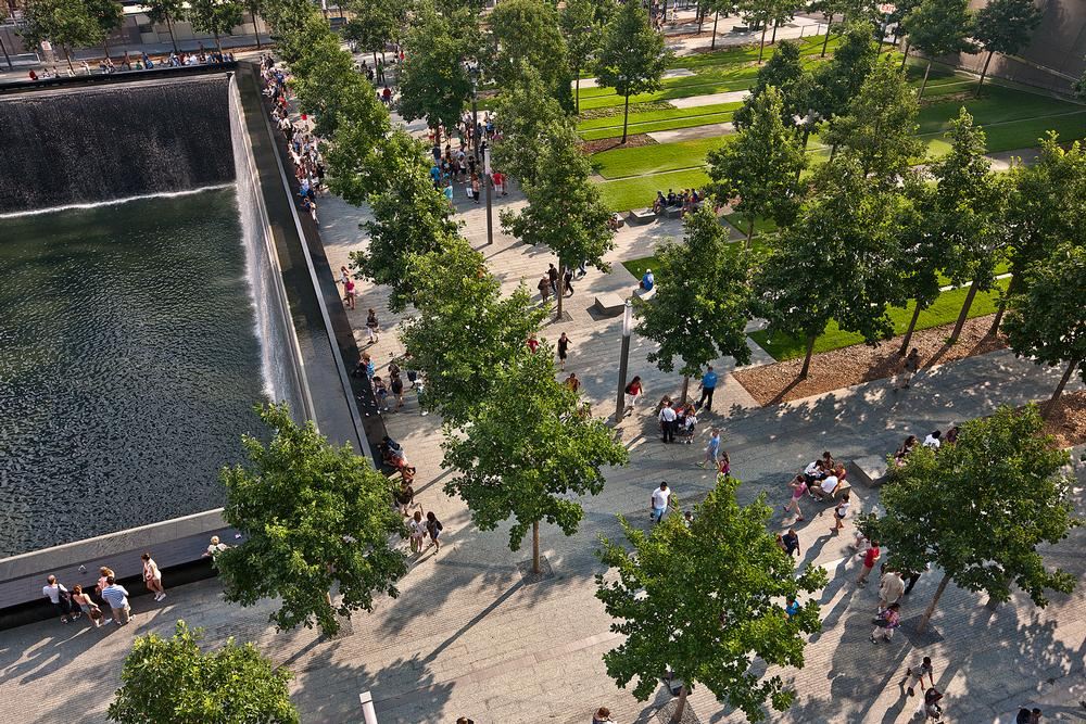 The eco-friendly public plaza  features more than 400 trees which surround the reflecting pools / © joe woolhead