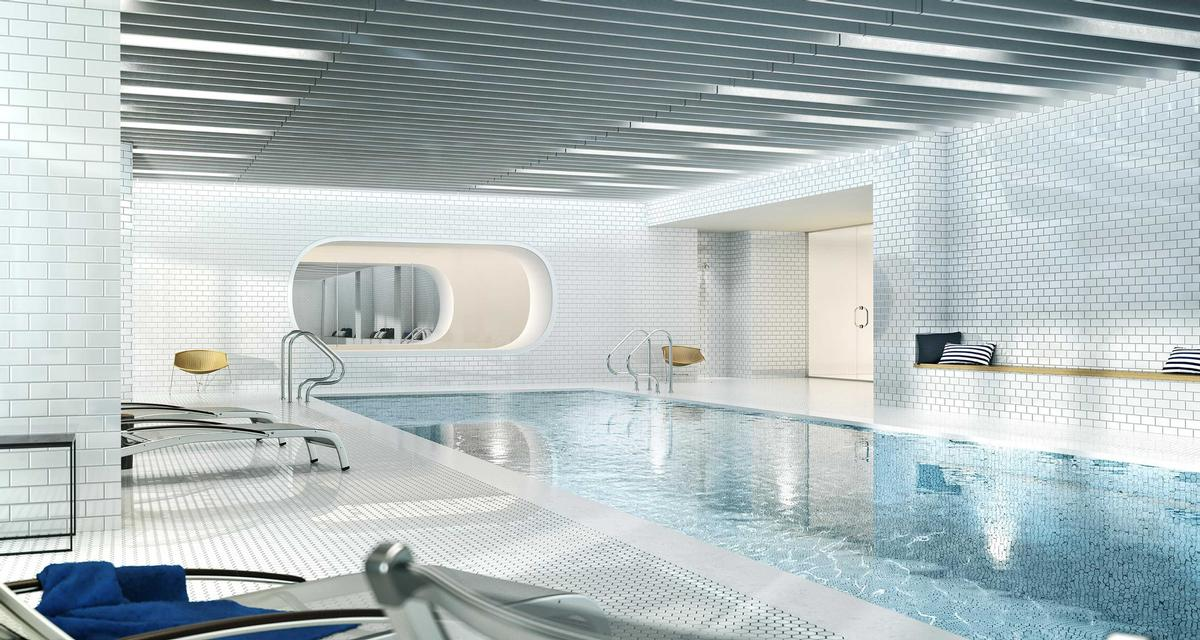 On-site amenities will include a large swimming pool, an indoor basketball court, a gym, a golf simulator and a cinema / The Durst Organization/Via West 57