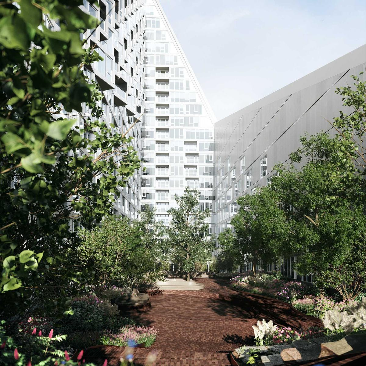 The building will have large areas of green space for residents to relax / The Durst Organization/Via West 57