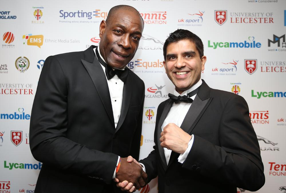 Sporting Equals CEO Arun Kang with Frank Bruno