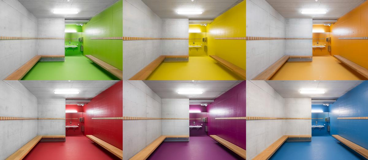 The changing rooms are painted vibrant colours to create a feeling of fun and energy / Sue Baer Fotografie