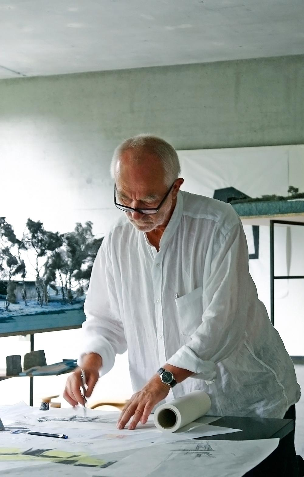 Zumthor works from his studio in Haldenstein, which he designed in 1986. / Photo courtesy of Peter Zumthor & Partner