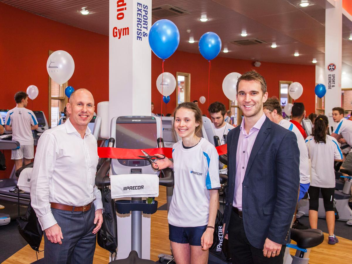The opening ceremony was conducted by the University of Edinburgh's Jim Aitken (left), Precor marketing manager Jonathan Griffiths (right) and elite student athlete Rhona Auckland