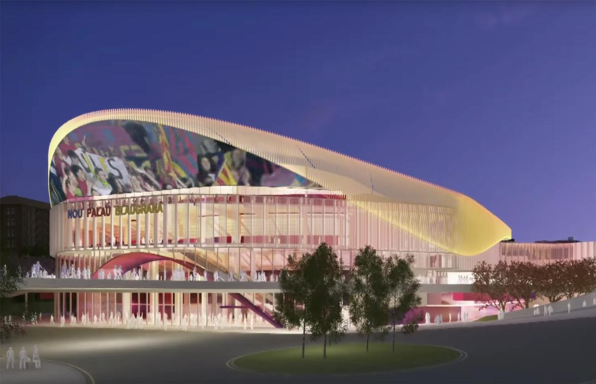 The asymetrical bowl-shaped complex will display sports footage on a rooftop LED screen / FC Barcelona