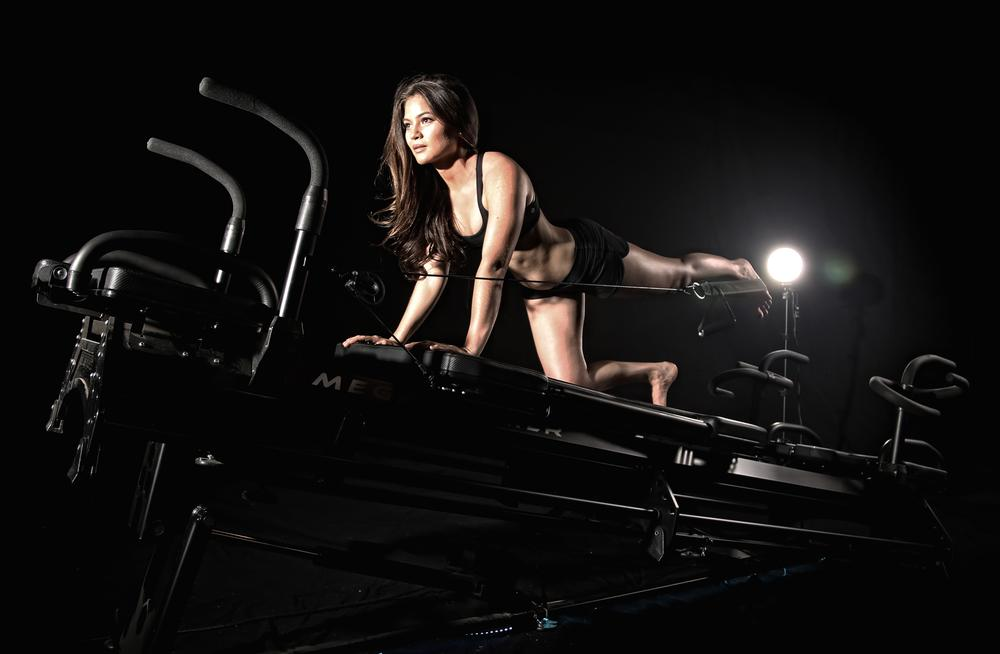 The Lagree Megaformer is based on a pilates reformer, with additional features to minimise transition time between exercises