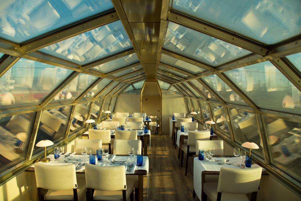 Domecar dining panorama rail restaurant takes guests on a scenic