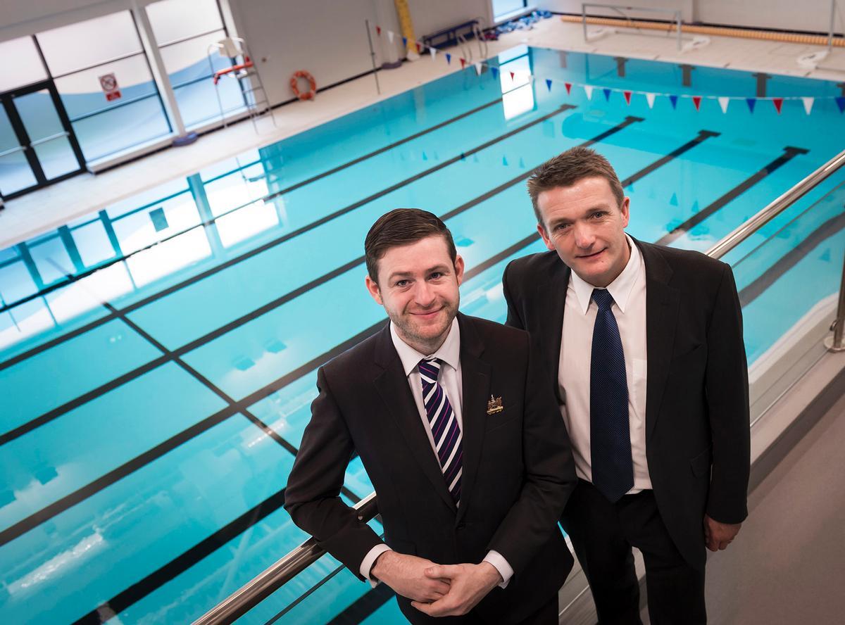 Oldham Council leader Jim McMahon (left) and Oldham Community Leisure CEO Stuart Lockwood