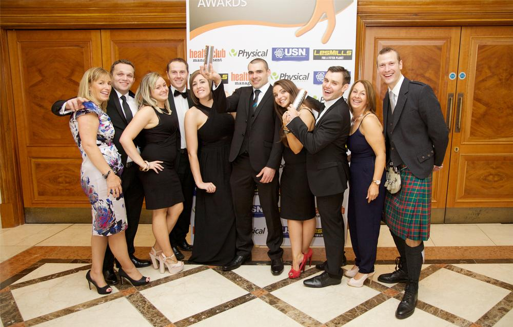 The team from Westwoods Health Club in Edinburgh celebrate taking gold in the Premium Club category for Scotland