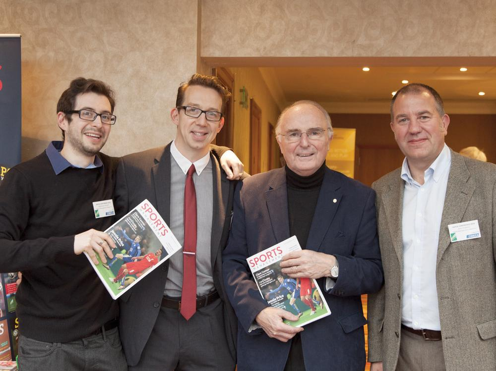 Architect Geraint John, recipient of IOC's Pierre de Coubertin medal (second from right), with the Sports Management team