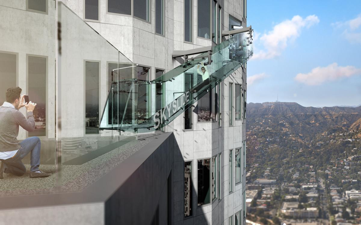 The 45ft Skyslide will link the 70th and 69th floors of the Bank Tower; the tallest building on the west coast of the US / OAE Ltd